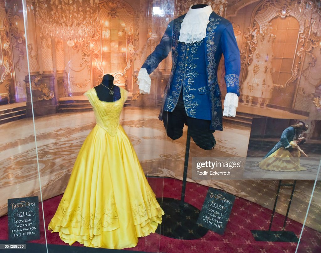 Belle and Beast costumes on display at opening night of Disney's 'Beauty And The Beast' at El Capitan Theatre on March 16, 2017 in Los Angeles, California.