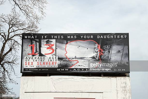 Belle Plaine Minnesota Billboard showing the effects of sex slavery in the United States