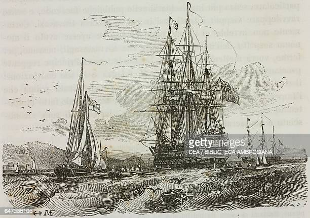 Bellerophon carrying Napoleon Bonaparte dropping anchor in the roadstead at Torbay 24 July 1815 illustration from the first Italian edition of The...