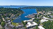 Bellevue Washington Aerial View of Meydenbauer Bay Whalers Cove