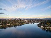 Bellevue Washington Cityscape and Meydenbauer Bay Aerial View