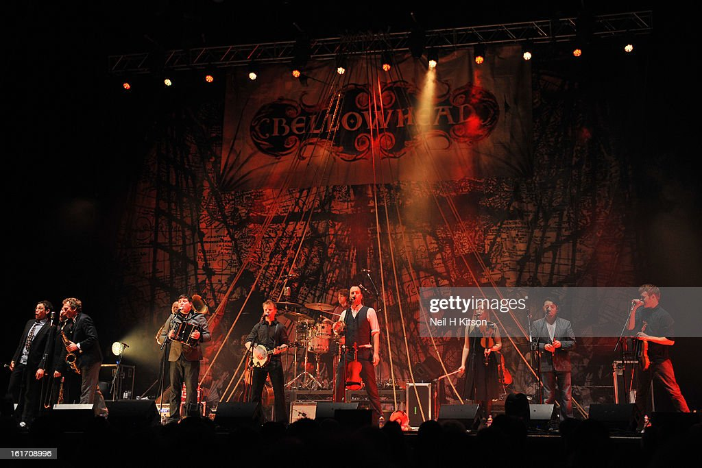Bellowhead perform on stage at City Hall on February 14, 2013 in Sheffield, England.