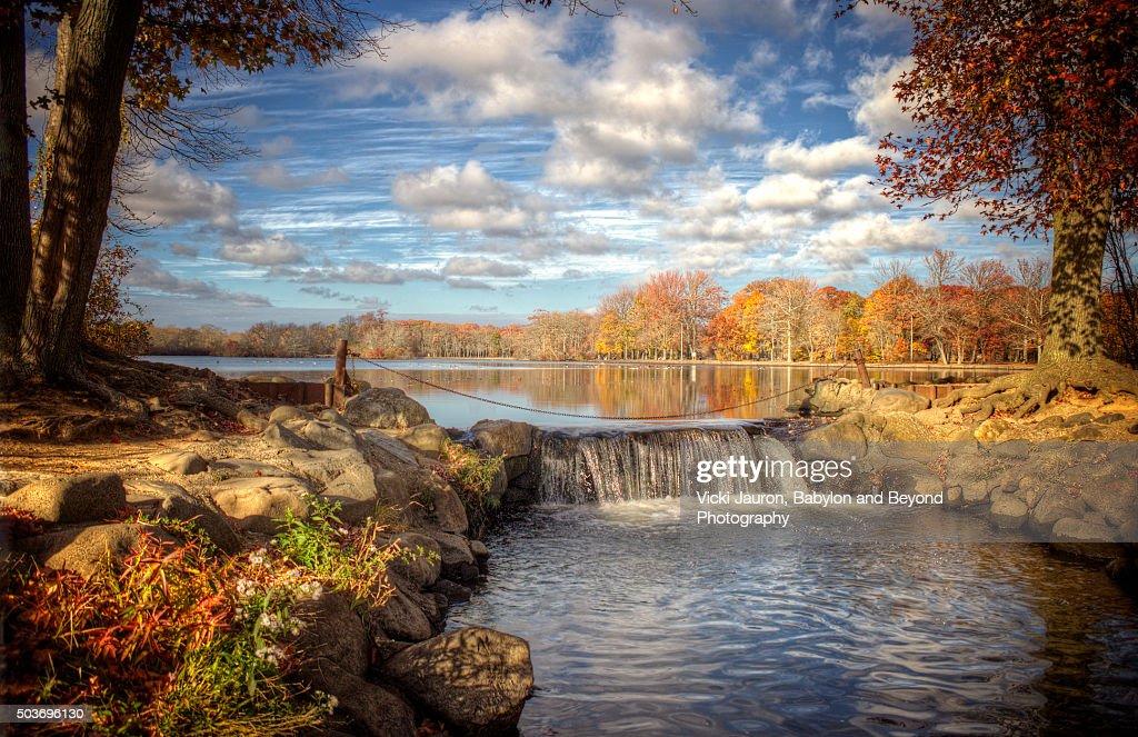 Belmont lake Falls at Belmont Lake State Park, West Babylon, Long Island, New York