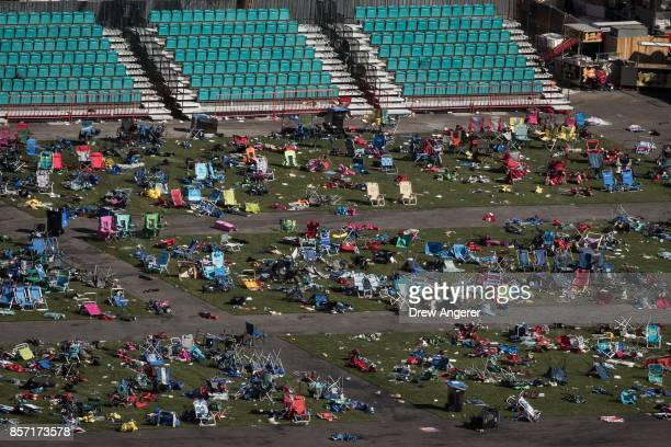 Belongings are scattered and left behind at the site of the mass shooting at the Route 91 Harvest Festival October 3 2017 in Las Vegas Nevada The...