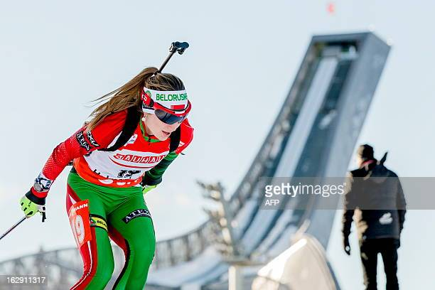 Belorussian Darya Domracheva competes during the IBU Biathlon World Cup sprint in Oslo on March 2013 Domracheva placed second in the event AFP PHOTO...
