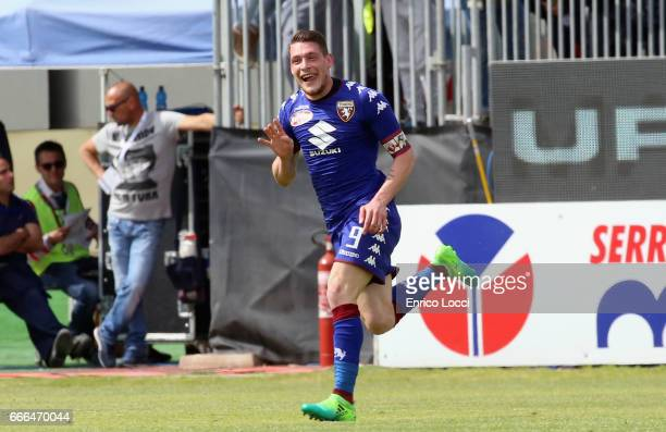 Belotti Andrea of Torino celebrates his goal 12 during the Serie A match between Cagliari Calcio and FC Torino at Stadio Sant'Elia on April 9 2017 in...