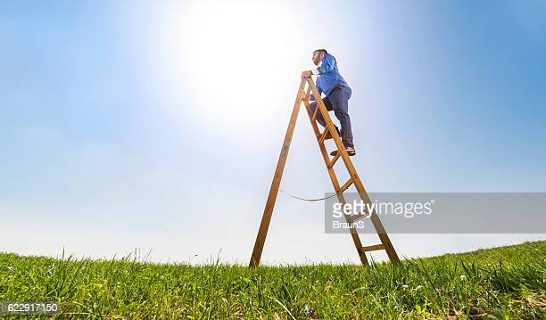 Below view of a businessman on ladder of success.