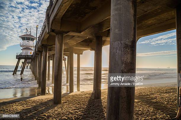 Below View Of Huntington Beach Pier In Sea