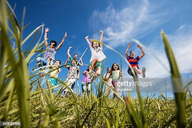 Below view of joyful group of people jumping on grass.