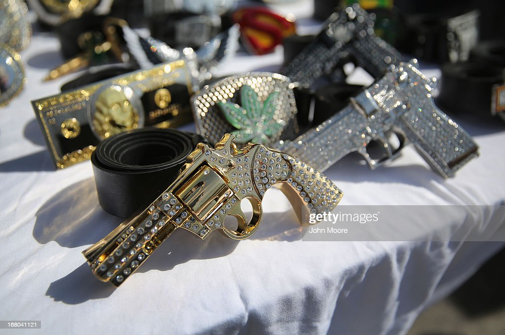 Belt buckles await sale at a vendor's booth at a Cinco de Mayo festival celebrating Mexican culture on May 4, 2013 in Denver, Colorado. Hundreds of thousands of people were expected to attend the two day event, billed as the largest Cinco de Mayo celebration in the United States. Cinco de Mayo observes the victory of the Mexican army over French forces on May 5, 1862 in the town of Puebla, Mexico. The festival celebrates Mexican culture and is one of the most popular annual Latino events in the United States.