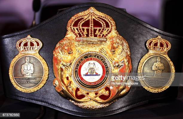A belt marking the fight is pictured as Anthony Joshua and Wladamir Klitschko take part in a press conference for their Super Heavyweight title fight...