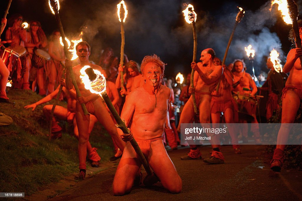 Beltane Fire Society performers celebrate the coming of summer by participating in the Beltane Fire Festival on Calton Hill April 30, 2013 in Edinburgh, Scotland. The event celebrates the ending of winter and is a revival of the ancient Celtic and Pagan festival of Beltane, the Gaelic name for the month of May. The festival was first organized in the mid 1980's.