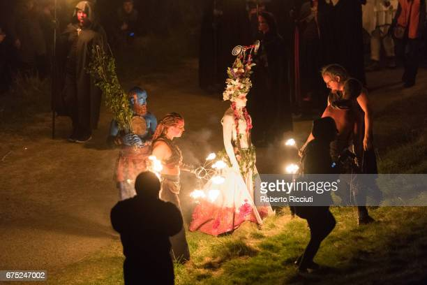 Beltane Fire Society performers celebrate the coming of summer by participating in the Beltane Fire Festival on Calton Hill on April 30 2017 in...