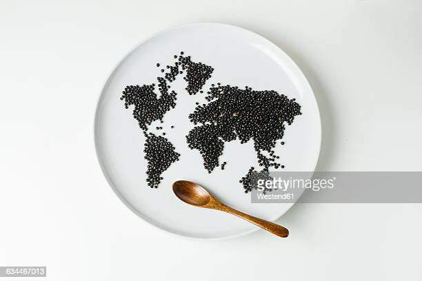 Beluga lentils on plate shaped like a world map with wooden spoon