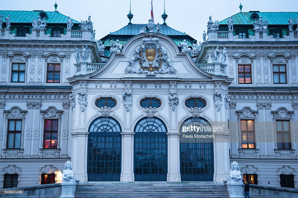 Belvedere palace facade at dusk in Vienna