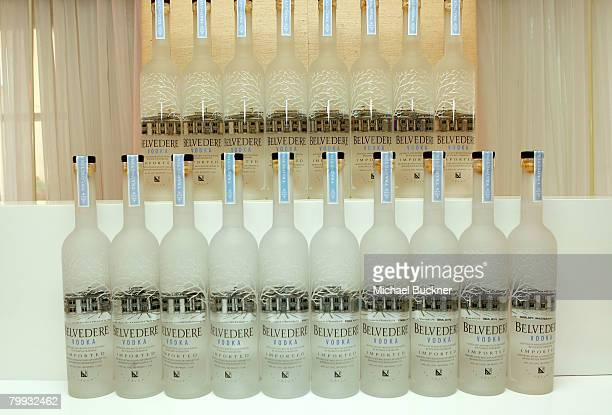 Belvedere Vodka are displayed at The Belvedere Luxury Lounge in honor of the 80th Academy Awards featuring Belvedere Vodka Best Picture Nomineethemed...