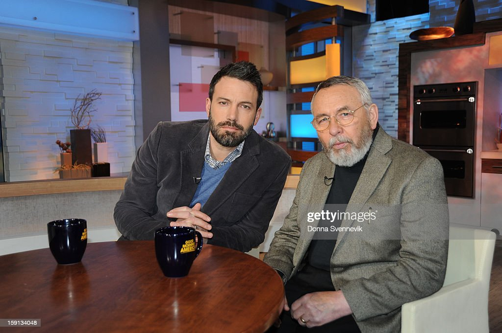 AMERICA - Ben Affleck and former CIA Agent Tony Mendez talk about adapting the true 'Argo' story for film on 'Good Morning America,' 1/8/13, airing on the ABC Television Network. (Photo by Donna Svennevik/ABC via Getty Images) BEN