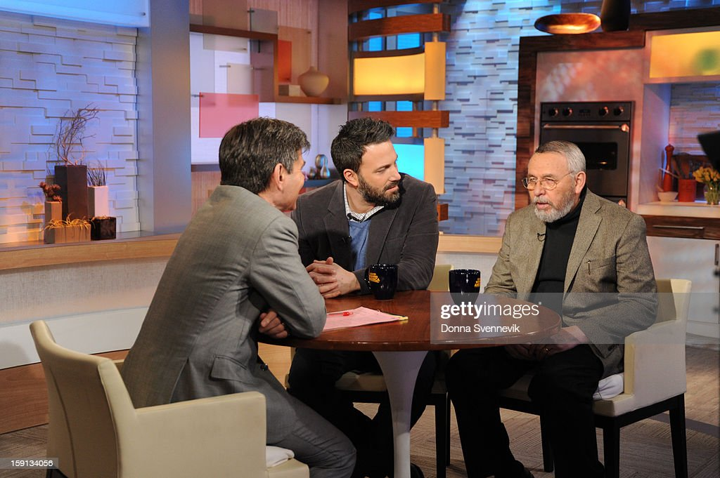 AMERICA - Ben Affleck and former CIA Agent Tony Mendez talk about adapting the true 'Argo' story for film on 'Good Morning America,' 1/8/13, airing on the ABC Television Network. (Photo by Donna Svennevik/ABC via Getty Images) GEORGE