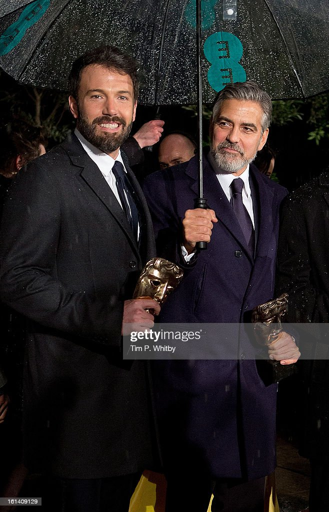 <a gi-track='captionPersonalityLinkClicked' href=/galleries/search?phrase=Ben+Affleck&family=editorial&specificpeople=201856 ng-click='$event.stopPropagation()'>Ben Affleck</a> and <a gi-track='captionPersonalityLinkClicked' href=/galleries/search?phrase=George+Clooney&family=editorial&specificpeople=202529 ng-click='$event.stopPropagation()'>George Clooney</a> attend the after party for the EE British Academy Film Awards at Grosvenor House, on February 10, 2013 in London, England.