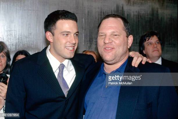 Ben Affleck and Harvey Weinstein attend the 'Sliding Doors' Premiere at Gotham Theater on April 21 1998 in New York City