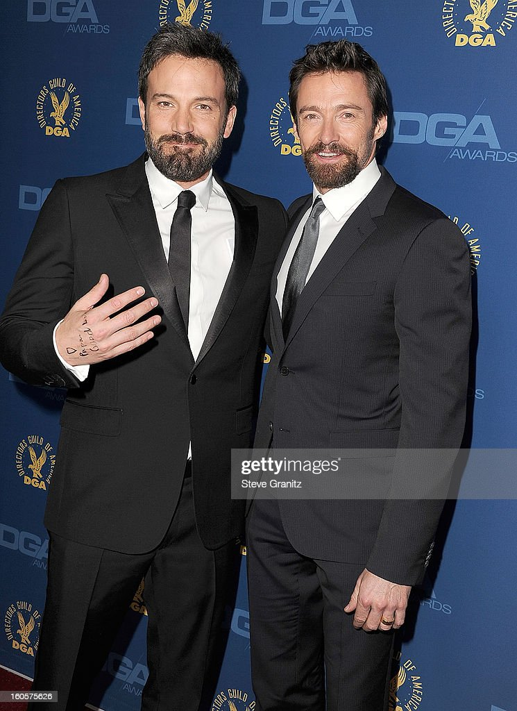 <a gi-track='captionPersonalityLinkClicked' href=/galleries/search?phrase=Ben+Affleck&family=editorial&specificpeople=201856 ng-click='$event.stopPropagation()'>Ben Affleck</a> and <a gi-track='captionPersonalityLinkClicked' href=/galleries/search?phrase=Hugh+Jackman&family=editorial&specificpeople=202499 ng-click='$event.stopPropagation()'>Hugh Jackman</a> arrives at the 65th Annual Directors Guild Of America at The Ray Dolby Ballroom at Hollywood & Highland Center on February 2, 2013 in Hollywood, California.