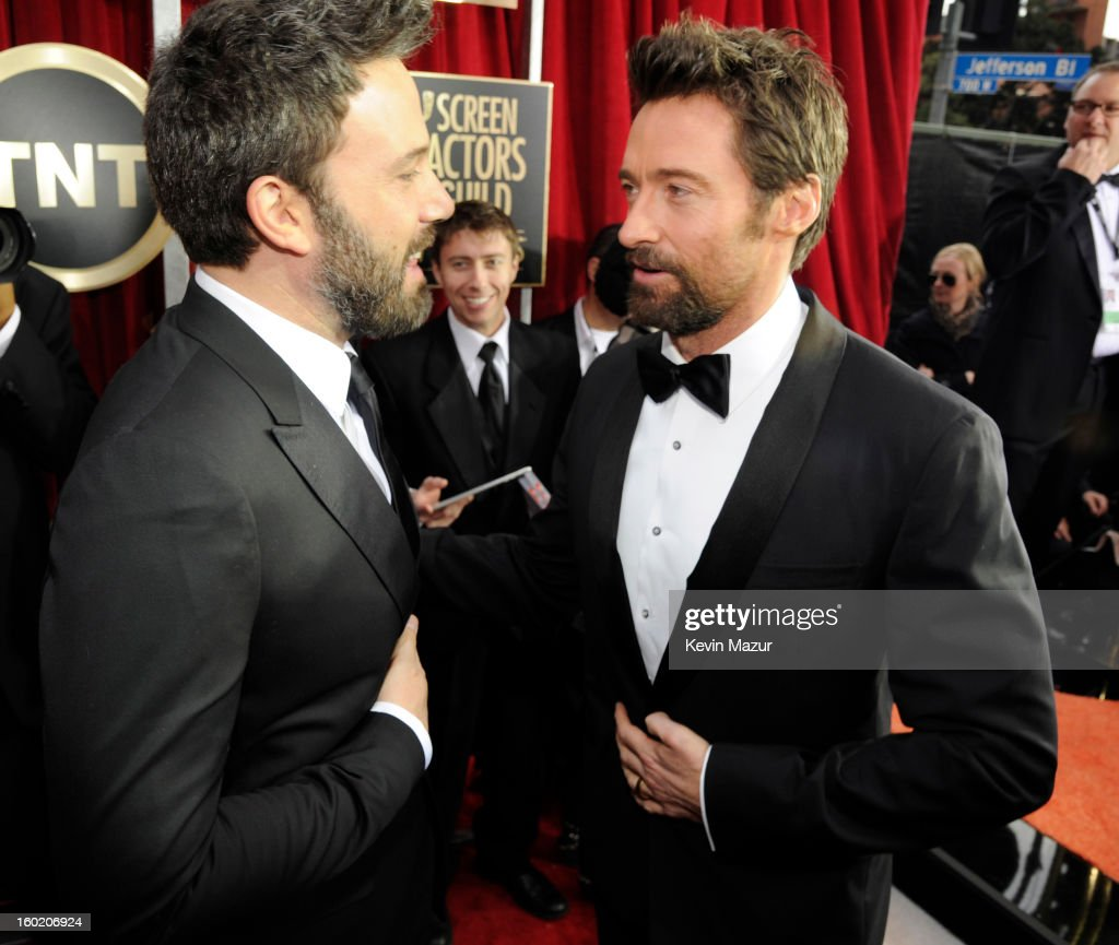 Ben Affleck and Hugh Jackman attends the 19th Annual Screen Actors Guild Awards at The Shrine Auditorium on January 27, 2013 in Los Angeles, California. (Photo by Kevin Mazur/WireImage) 23116_016_0954.jpg