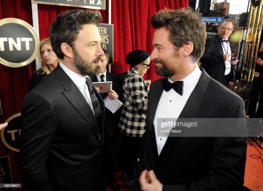 Ben Affleck and Hugh Jackman attends the 19th Annual Screen Actors Guild Awards at The Shrine Auditorium on January 27, 2013 in Los Angeles, California. (Photo by Kevin Mazur/WireImage) 23116_016_0956.jpg