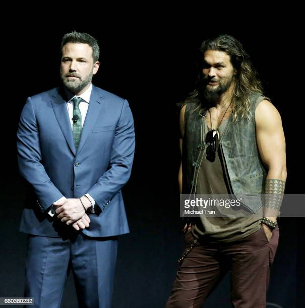 Ben Affleck and Jason Momoa speak onstage at the CinemaCon 2017 Warner Bros Pictures presentation held at The Colosseum at Caesars Palace during...