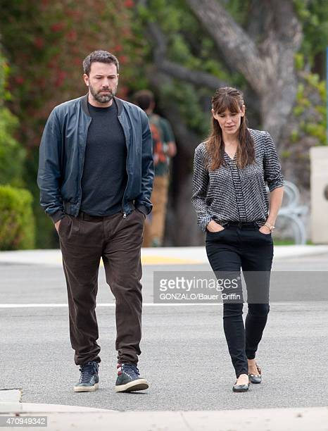 Ben Affleck and Jennifer Garner are seen in Brentwood on April 24 2015 in Los Angeles California