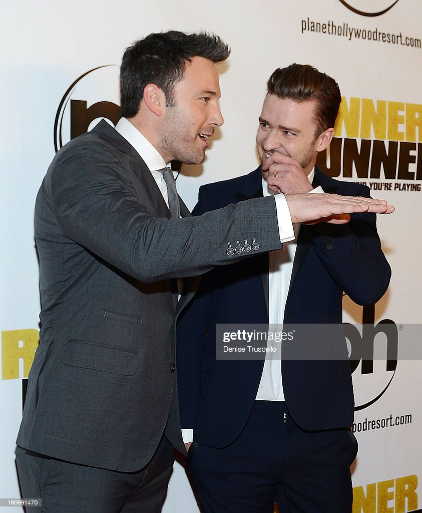 Ben Affleck and Justin Timberlake arrive at the world premiere of Runner Runner at Planet Hollywood Resort Casino on September 18 2013 in Las Vegas...