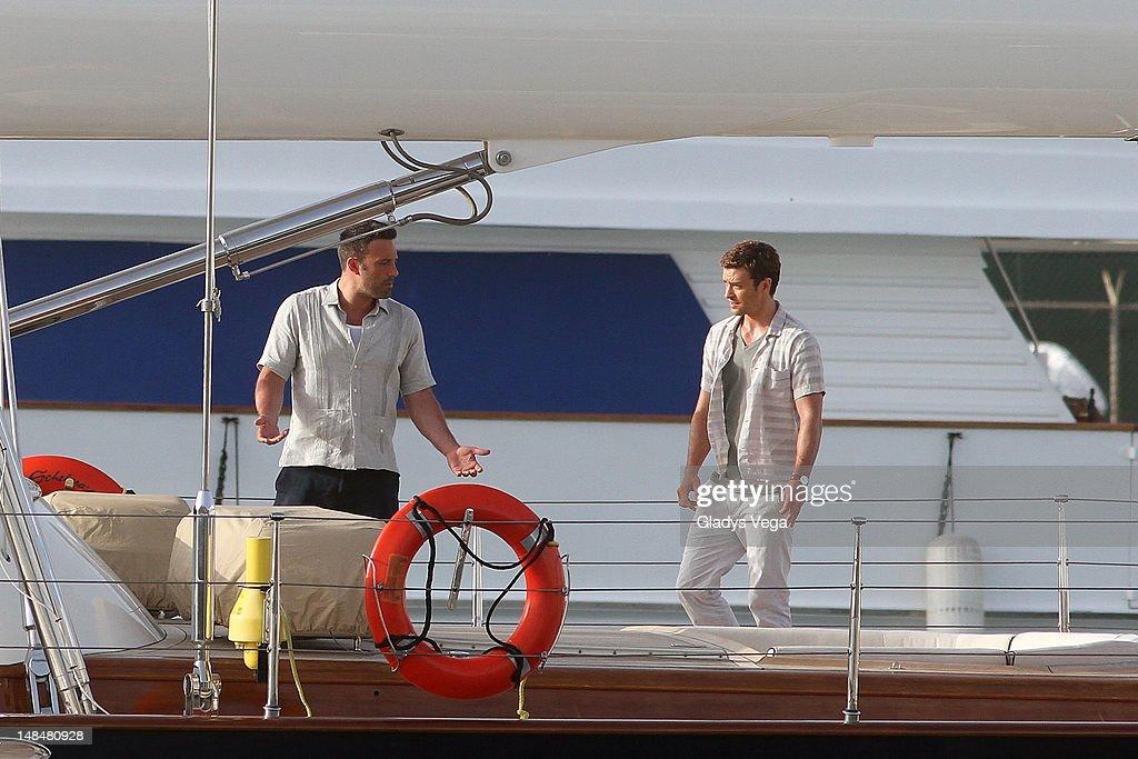 Ben Affleck and Justin Timberlake on location filming 'Runner Runner' at San Juan Bay Marine on July 17 2012 in San Juan Puerto Rico