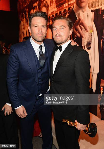 Ben Affleck and Leonardo DiCaprio attend the 2016 Vanity Fair Oscar Party Hosted By Graydon Carter at the Wallis Annenberg Center for the Performing...