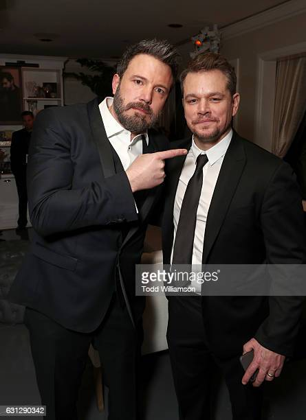 Ben Affleck and Matt Damon attend Amazon Studios Golden Globes Celebration at The Beverly Hilton Hotel on January 8 2017 in Beverly Hills California