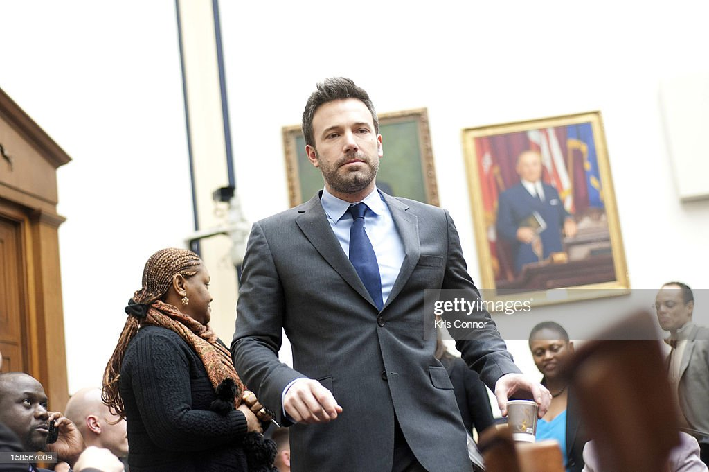 <a gi-track='captionPersonalityLinkClicked' href=/galleries/search?phrase=Ben+Affleck&family=editorial&specificpeople=201856 ng-click='$event.stopPropagation()'>Ben Affleck</a> arrives to a House Armed Services Committee hearing on the Evolving Security Situation in the Democratic Republic of the Congo and Implications for U.S. National Security at Rayburn House Office Building on December 19, 2012 in Washington, DC.