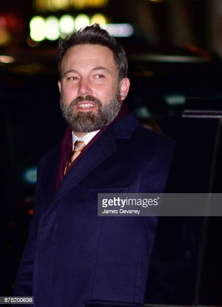 Ben Affleck arrives to 'The Late Show With Stephen Colbert' at the Ed Sullivan Theater on November 16 2017 in New York City