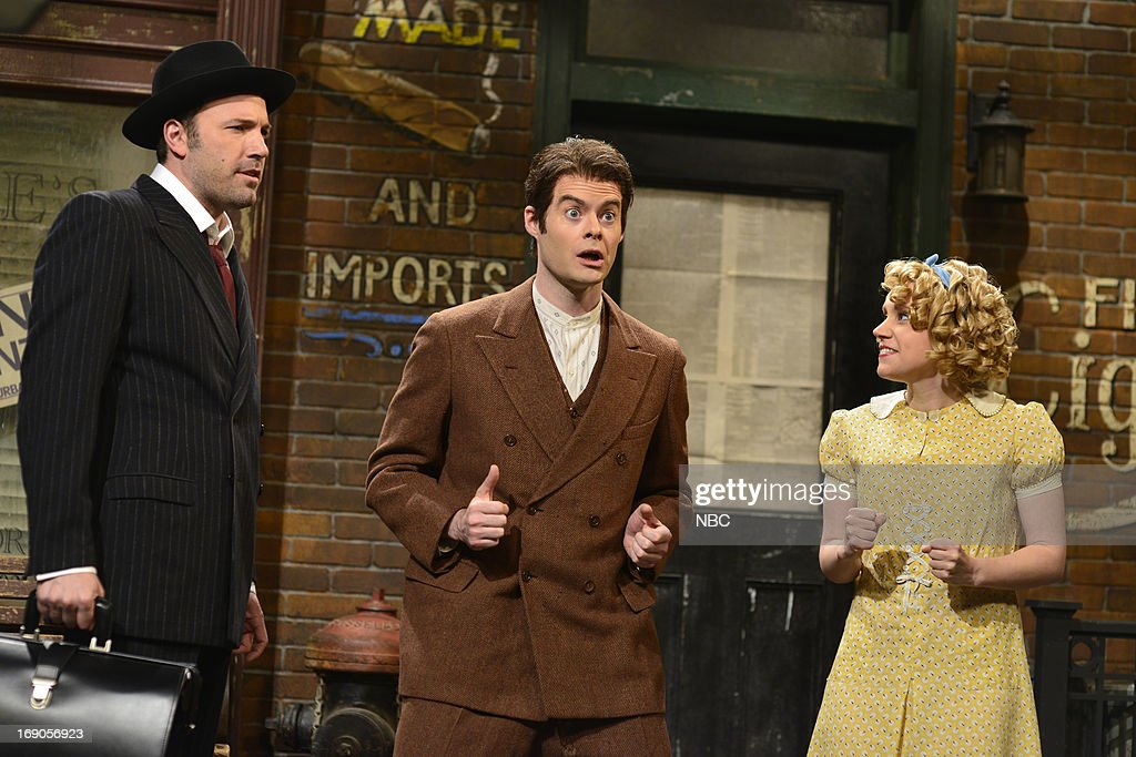 LIVE -- 'Ben Affleck' Episode 1641 -- Pictured: (l-r) Ben Affleck, Bill Hader and Kate McKinnon during a skit on May 18, 2013 --