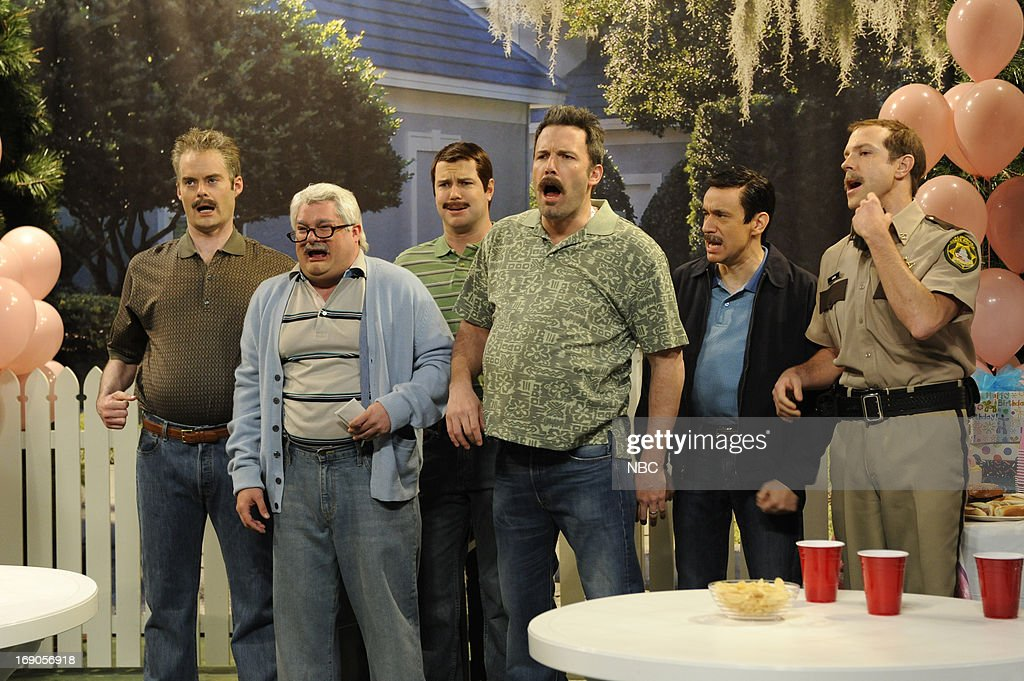 LIVE -- 'Ben Affleck' Episode 1641 -- Pictured: (l-r) Bill Hader, Bobby Moynihan, Taran Killam, Ben Affleck, Fred Armisen and Jason Sudeikis during a skit on May 18, 2013 --