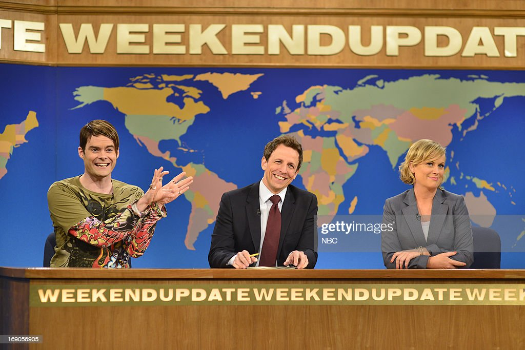 LIVE -- 'Ben Affleck' Episode 1641 -- Pictured: (l-r) Bill Hader, Seth Meyers and Amy Poehler during Weekend Update on May 18, 2013 --