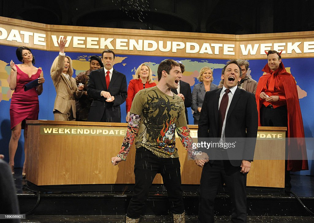 LIVE -- 'Ben Affleck' Episode 1641 -- Pictured: (l-r) Cecily Strong, Nasim Pedrad, Kenan Thompson, Fred Armisen, Kate McKinnon, Bill Hader, Amy Poehler, Seth Meyers, Bobby Moynihan and Jason Sudeikis during Stefon's Farewell on May 18, 2013 --