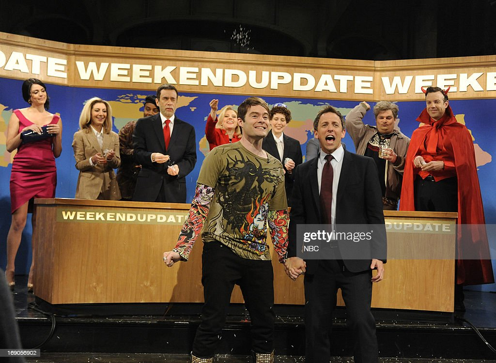 LIVE -- 'Ben Affleck' Episode 1641 -- Pictured: (l-r) Cecily Strong, Nasim Pedrad, Kenan Thompson, Fred Armisen, Kate McKinnon, Bill Hader, Vanessa Bayer, Seth Meyers, Bobby Moynihan and Jason Sudeikis during Stefon's Farewell on May 18, 2013 --