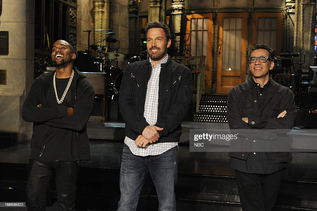 LIVE -- 'Ben Affleck' Episode 1641 -- Pictured: (l-r) Kanye West, Ben Affleck, Fred Armisen --