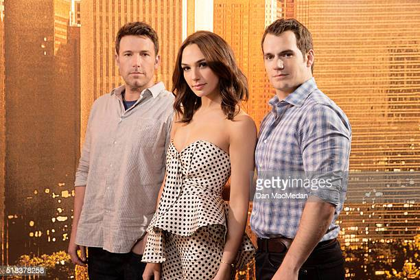 Ben Affleck Henry Cavill Gal Gadot are photographed for USA Today on March 25 2016 in Burbank California