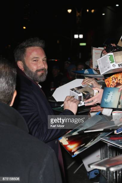 Ben Affleck signs autographs for fans as he departs Ed Sullivan Theater after his taping of 'The Late Show With Stephen Colbert 'on November 16 2017...