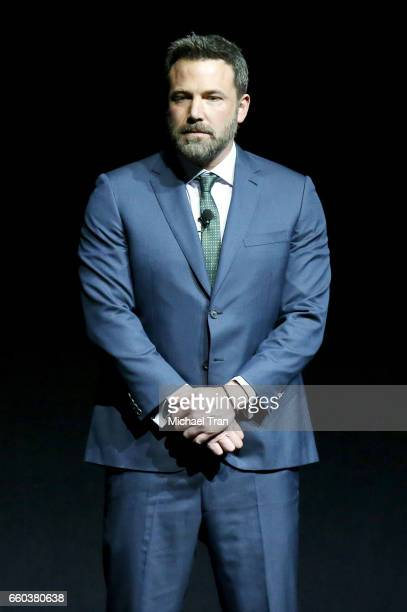 Ben Affleck speaks onstage at the CinemaCon 2017 Warner Bros Pictures presentation held at The Colosseum at Caesars Palace during CinemaCon the...