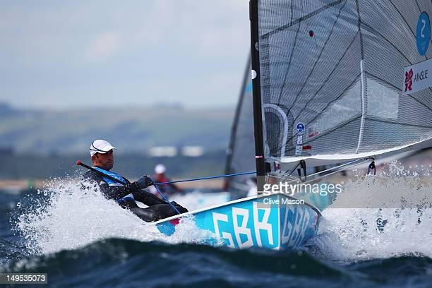 Ben Ainslie of Great Britain competes in the Men's Finn Sailing on Day 3 of the London 2012 Olympic Games at Weymouth Harbour on July 30 2012 in...