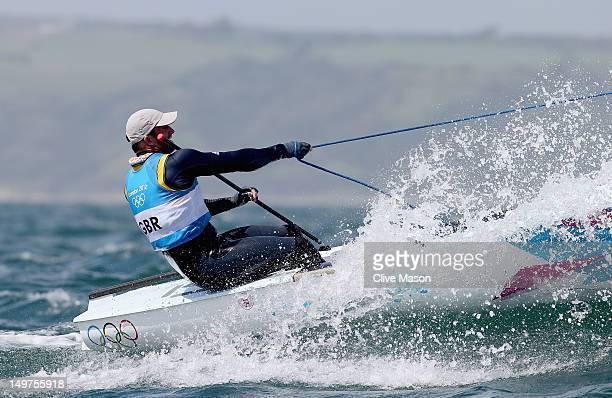 Ben Ainslie of Great Britain competes in the Men's Finn Sailing on Day 7 of the London 2012 Olympic Games at the Weymouth Portland Venue at Weymouth...