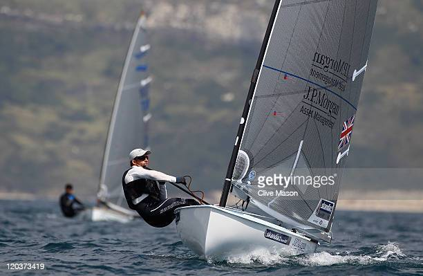 Ben Ainslie of Great Britain in action during a Finn Class practice race during day four of the Weymouth and Portland International Regatta at the...