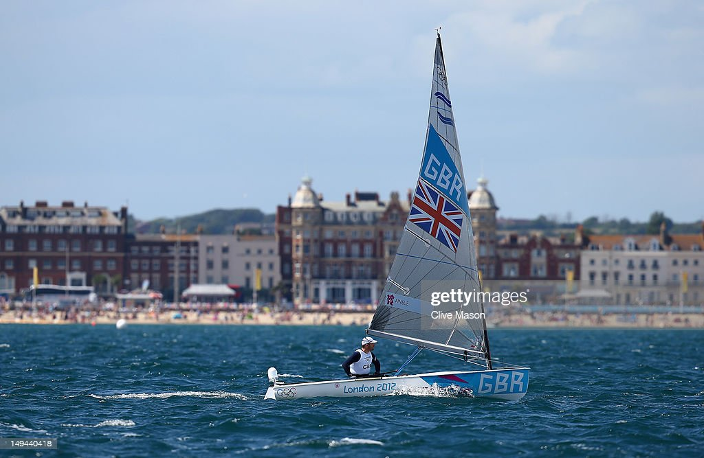 <a gi-track='captionPersonalityLinkClicked' href=/galleries/search?phrase=Ben+Ainslie&family=editorial&specificpeople=208865 ng-click='$event.stopPropagation()'>Ben Ainslie</a> of Great Britain in action during a Finn Class practice race at the Weymouth & Portland Venue during the London 2012 Olympic Games on July 28, 2012 in Weymouth, England.