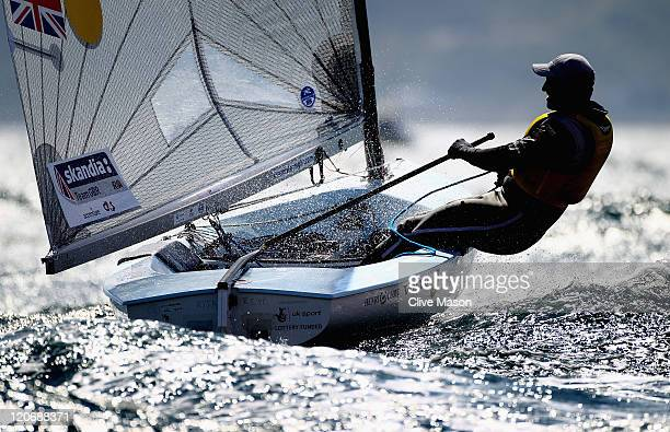Ben Ainslie of Great Britain in action during a Finn Class race during day seven of the Weymouth and Portland International Regatta at the Weymouth...