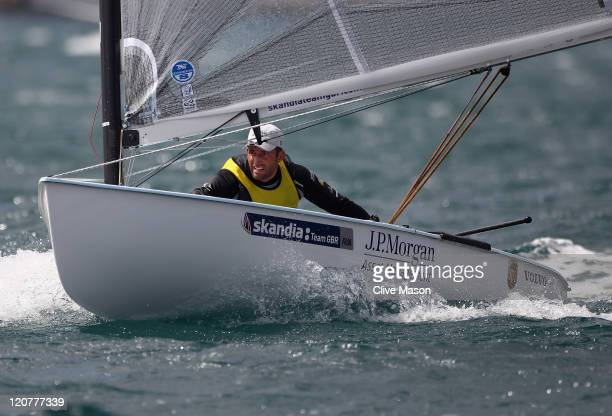 Ben Ainslie of Great Britain in action during a Finn Class race on day nine of the Weymouth and Portland International Regatta at the Weymouth and...